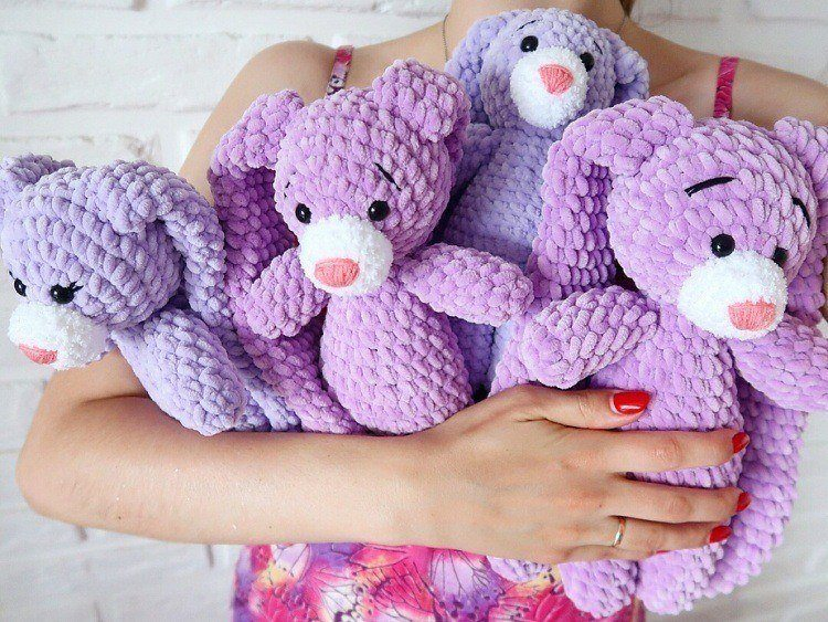 Bunnies amigurumi from plush yarn