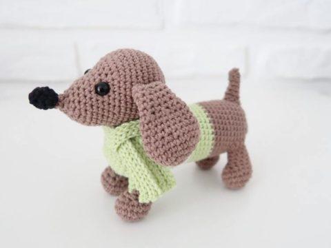 Crochet dog dachshund amigurumi
