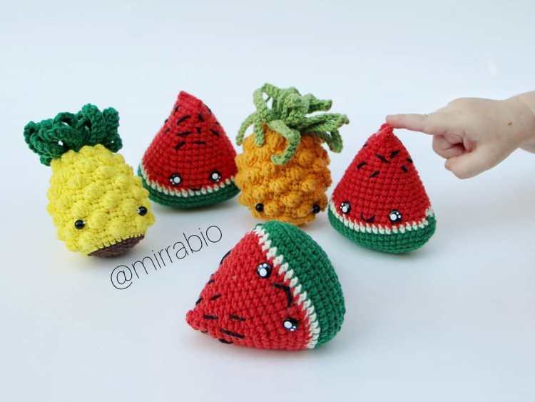 Crochet watermelon slice amigurumi