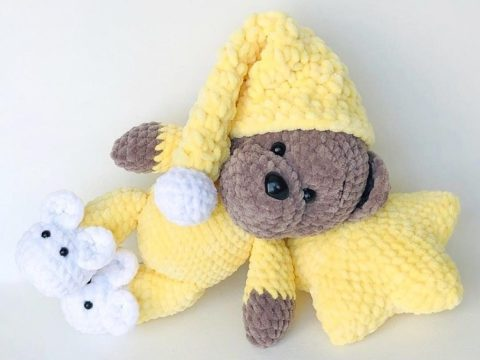 Crochet teddy bear in pajamas