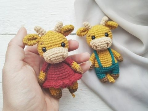 Crochet bull and cow amigurumi