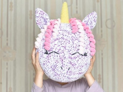 Crochet unicorn pillow
