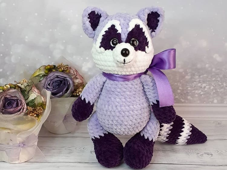 Crochet plush raccoon