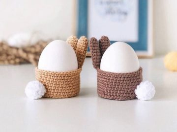 Crochet bunny basket for egg