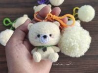 Crochet teddy bear keychain