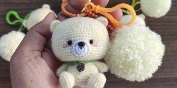 Crochet teddy bear keychain