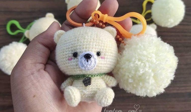 Teddy bear keychain free crochet pattern